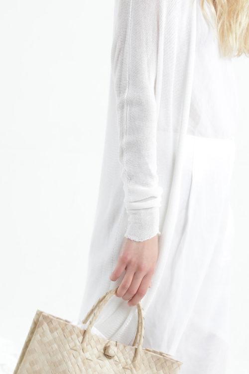 קרדיגן ארוך במבוק אוורירי -לבן